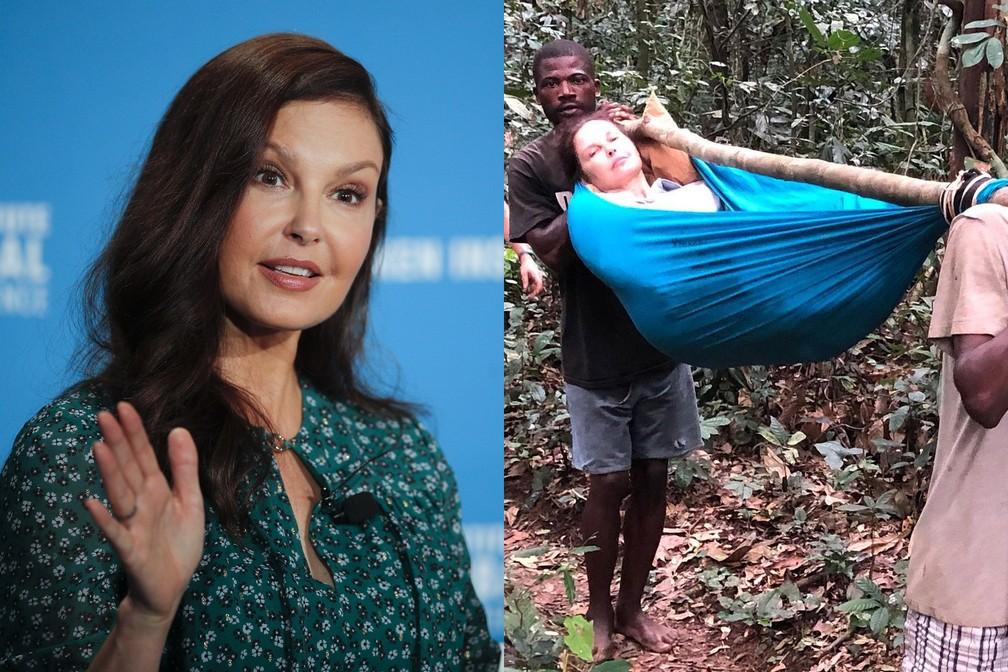 Ashley Judd mostra fotos do acidente que sofreu no Congo — Foto: Jae C. Hong/AP/Arquivo; Reprodução/Instagram/AshleyJudd
