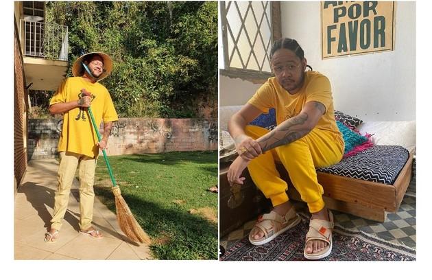 O cantor cuida de seu jardim na residência de dois andares. É do local que ele participa do 'Papo de segunda', do GNT (Foto: Reprodução/Instagram)