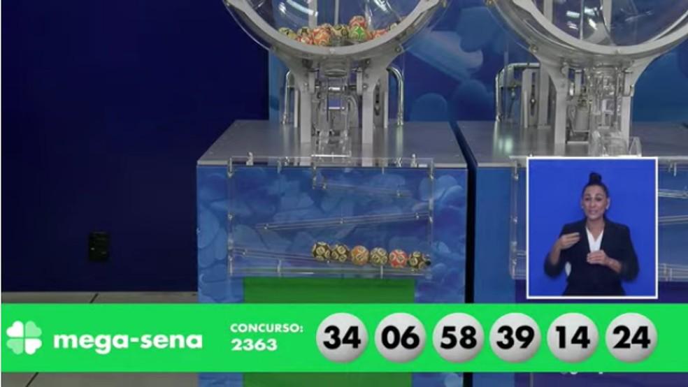 Números sorteados no concurso 2.363 da Mega Sena. — Foto: Foto: Reprodução/Youtube/CEF
