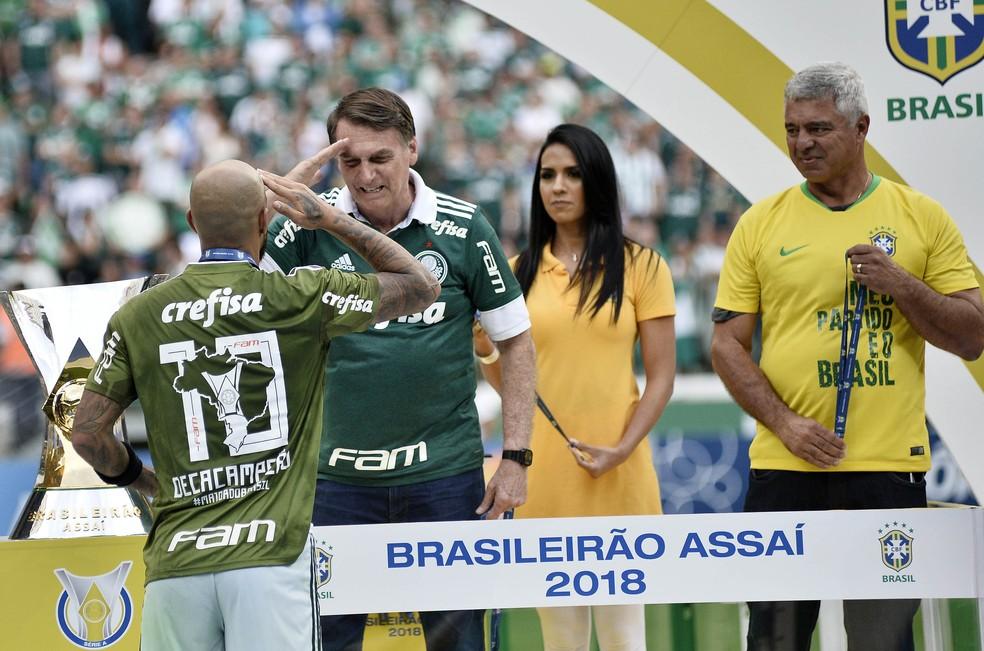 Felipe Melo, Bolsonaro - Palmeiras x Vitória — Foto: Marcos Ribolli