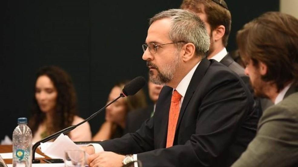 Abraham Weintraub em audiência na Câmara dos Deputados em dezembro — Foto: Luis Fortes/MEC via BBC