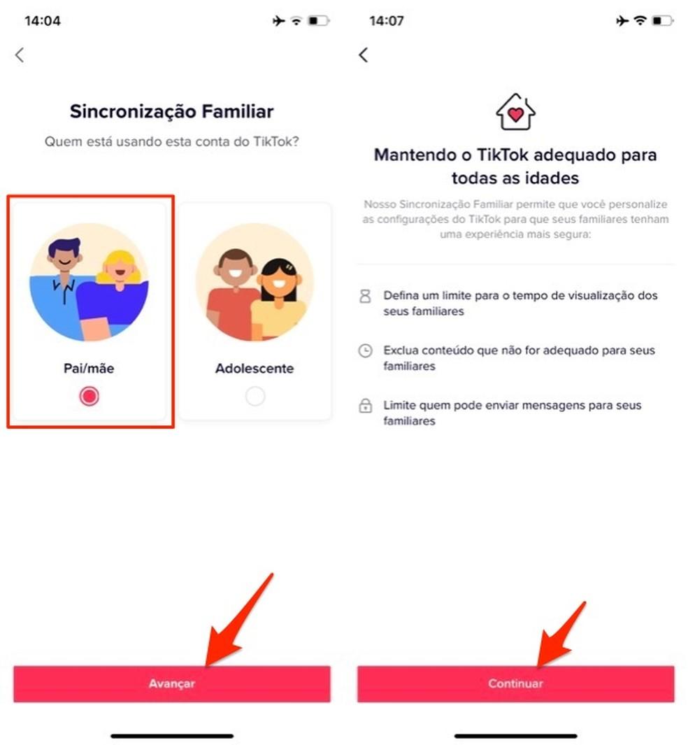 Ação para acessar a sincronização familiar para pais no aplicativo TikTok — Foto: Reprodução/Marvin Costa