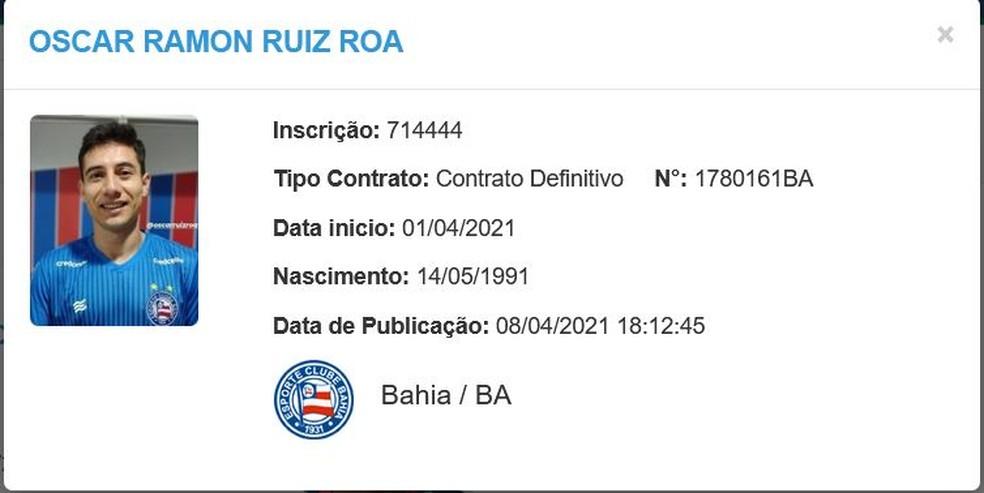 Oscar Ruiz é regularizado e pode estrear pelo Bahia — Foto: Reprodução