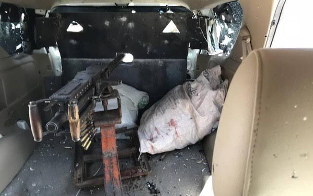 Metralhadora .50 apreendida após assalto a transportadora de valores no aeroporto de Viracopos em Campinas — Foto: Divulgação/Polícia Militar