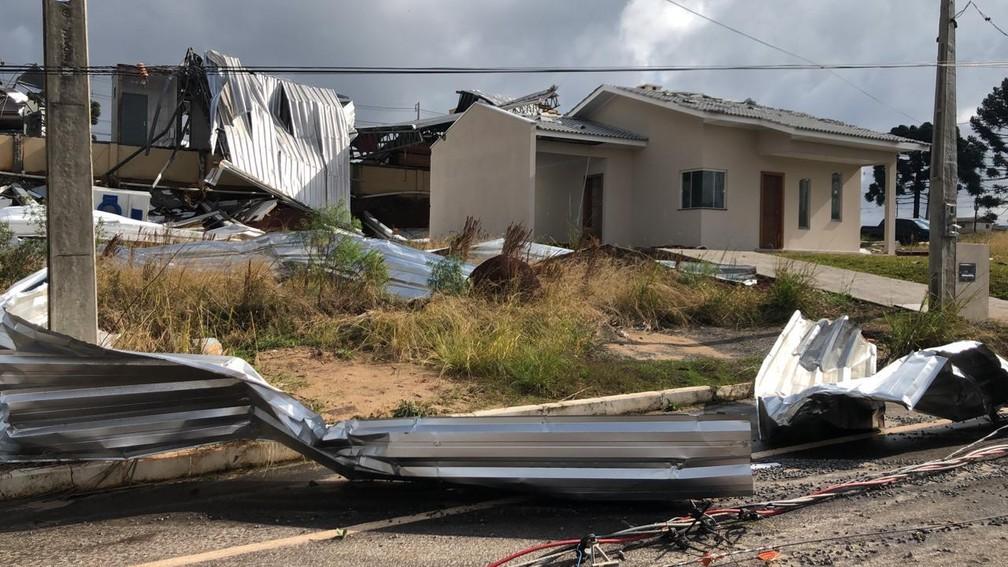 Campos Novos (SC) após tornado — Foto: Ascom Campos Novos/Divulgação