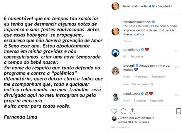 Fernanda Lima esclarece rumores sobre volta ao Amor e Sexo durante gravidez (Foto: Reprodução/Instagram)