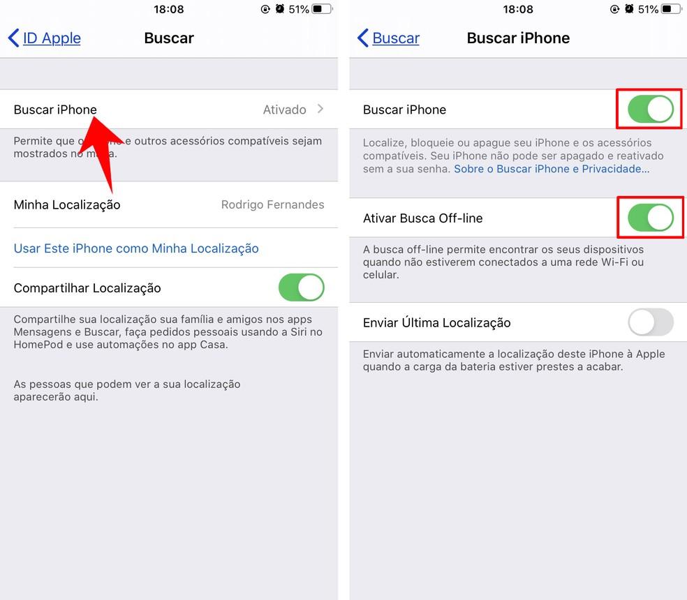 Ative o Buscar iPhone para rastreá-lo em caso de perda ou roubo — Foto: Reprodução/Rodrigo Fernandes