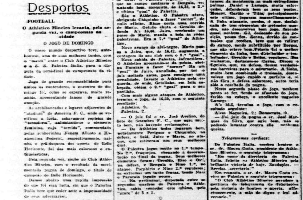 """Pedaço do jornal """"Minas Geraes"""" - reportagem pós-jogo — Foto: Reprodução/Minas Geraes"""