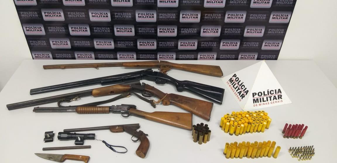 Espingardas e munição são encontradas na zona rural de Ituiutaba; idoso é detido