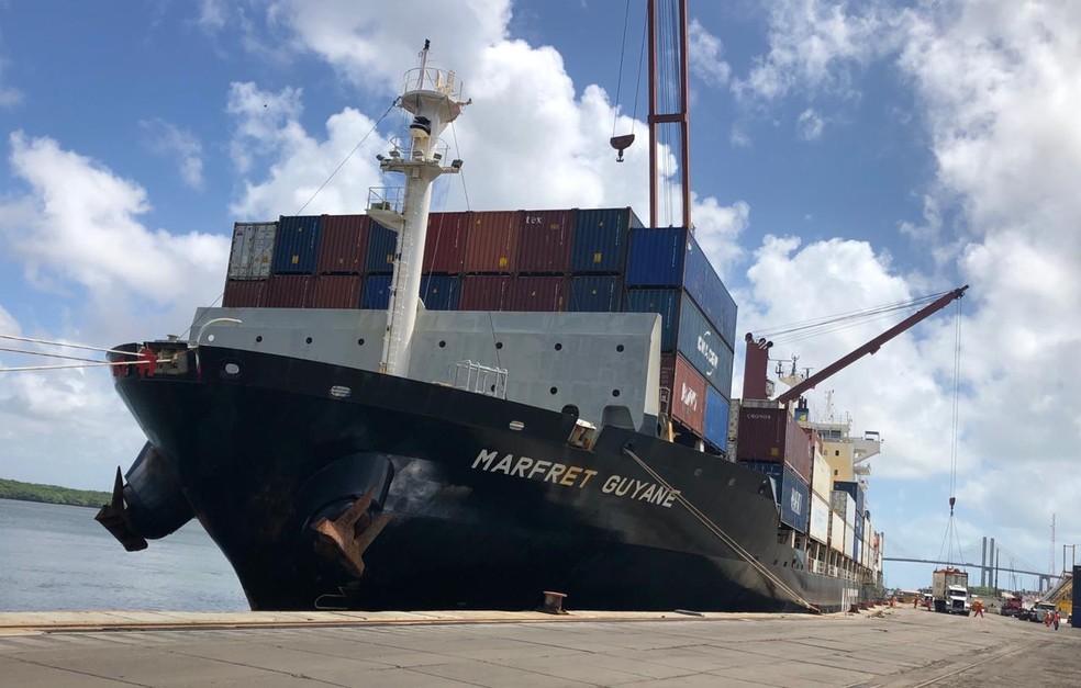 Navio da CMA-CGM atracou no Porto de Natal no sábado passado (6) — Foto: Divulgação