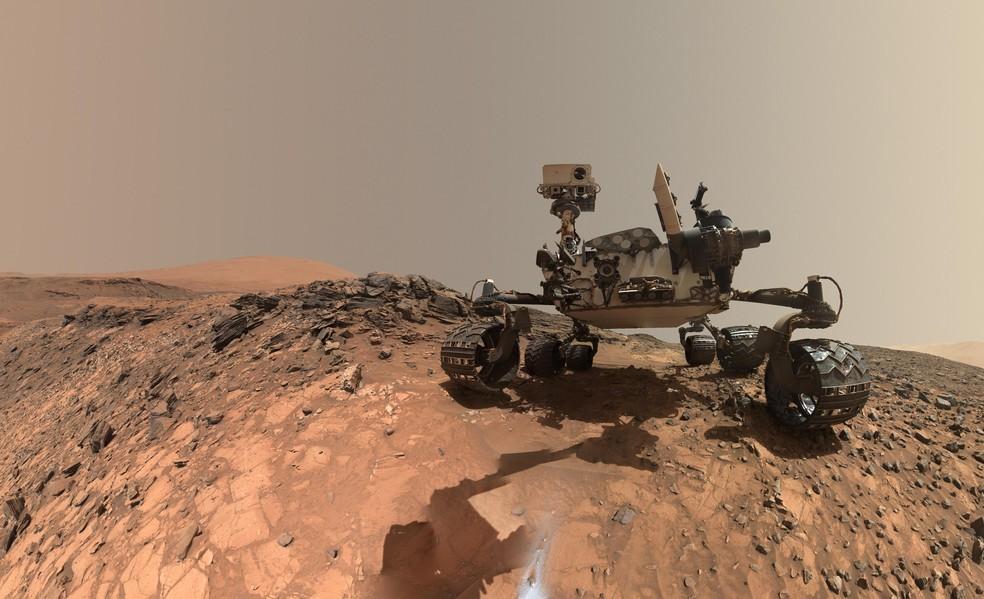 O jipe marciano da Nasa: o Curiosity — Foto: NASA/JPL-Caltech