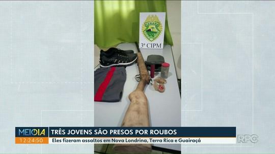 Trio é preso após sequência de roubos em três cidades do noroeste do Paraná