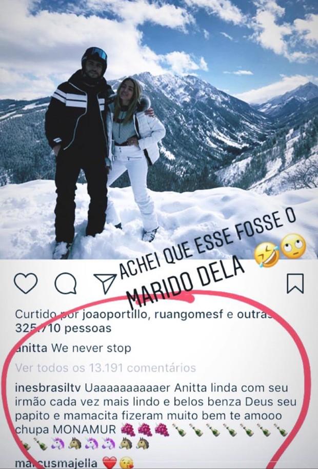 Comentário de Inês Brasil no post de Anitta (Foto: Reprodução/Instagram)