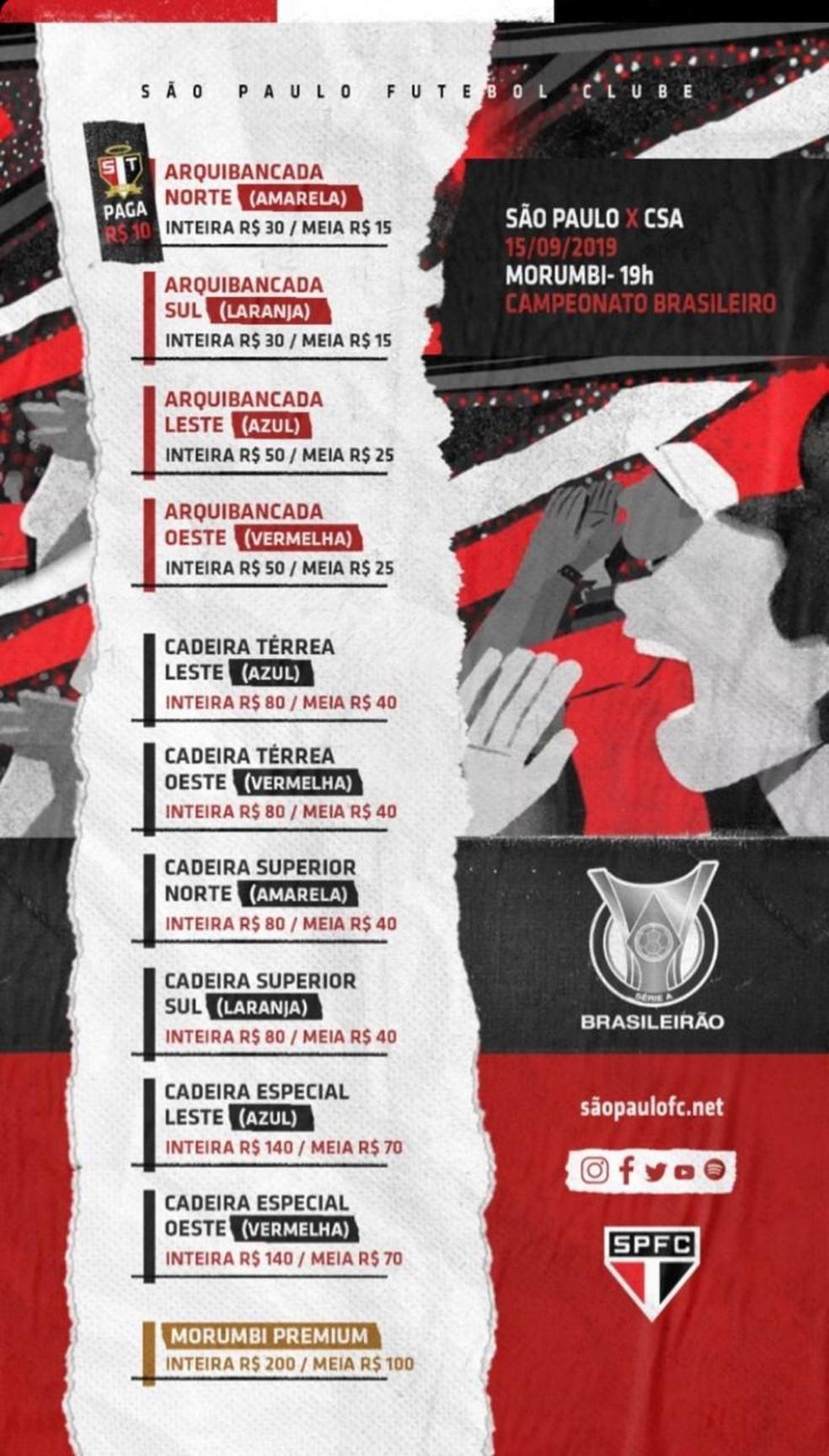 São Paulo abre venda de ingressos — Foto: Reprodução
