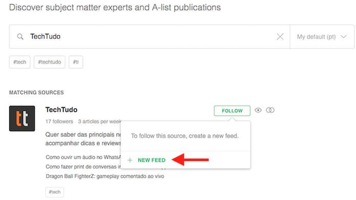 Crie um novo tipo de feed no agregador Feedly (Foto: Reprodução/Marvin Costa)