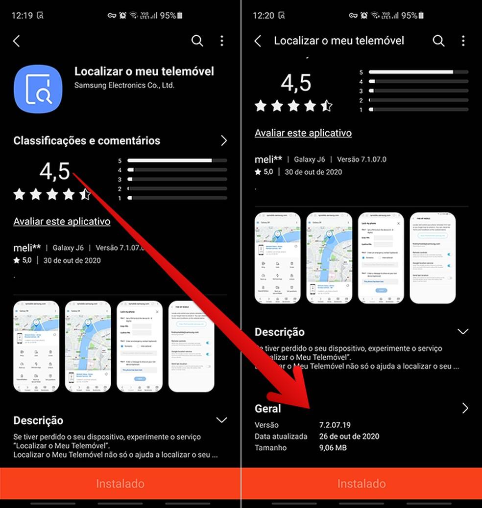 Verifique a versão do app na Galaxy Store; atualize se necessário — Foto: Reprodução/Filipe Garrett