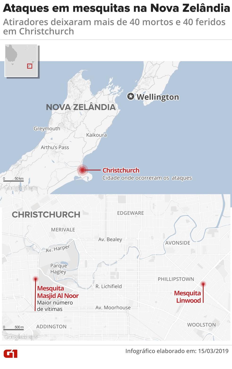 ataque nova zelandia mapa - Ataques a duas mesquitas deixam mais de 40 de mortos na Nova Zelândia