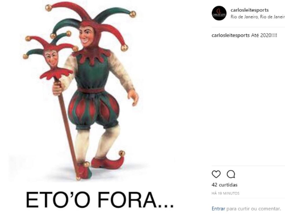 Carlos Leite comemora derrota de Julio Brant na eleição do Vasco — Foto: Reprodução / Instagram