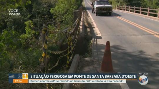 Buraco afeta asfalto de ponte e preocupa motoristas na rodovia SP-135, em Santa Bárbara d'Oeste