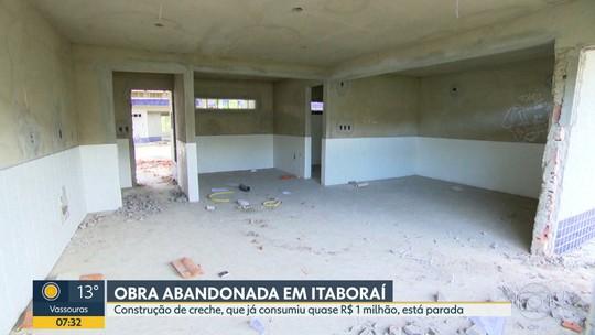 Obra de creche, em Itaboraí, está abandonada