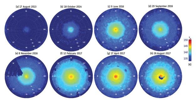 O polo norte de Saturno entre 2013 e 2017 (Foto: NASA/JPL-Caltech/University of Leicester/GSFC/ L.N. Fletcher et al. 2018)