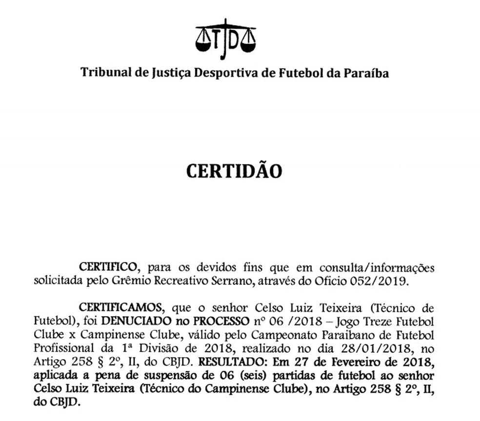 Resposta do TJDF-PB para a notificação do Serrano-PB aconteceu no dia 1º de março — Foto: Reprodução / TJDF-PB