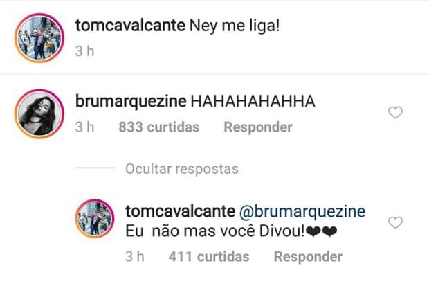 Bruna Marquezine se diverte com post de Tom Cavalcante (Foto: Reprodução/Instagram)