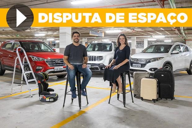 Disputa de espaço: Honda HR-V, Hyundai Creta e Jeep Renegade (Foto: Autoesporte)