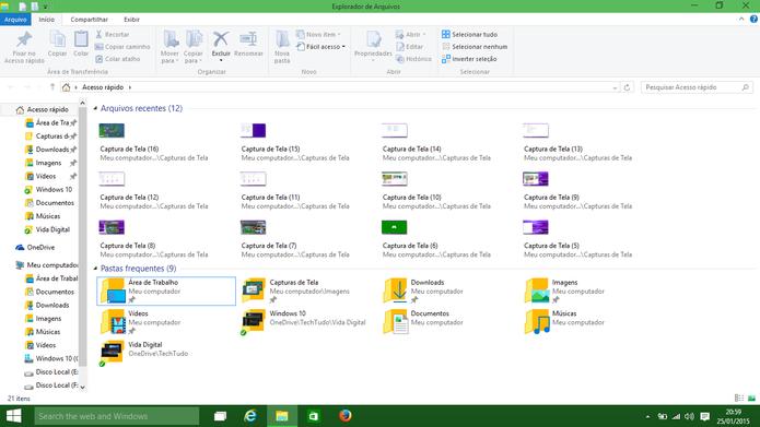 Windows 10 tem nova janela de Acesso Rápido que será aberta junto com o Windows Explorer (Foto: Reprodução/Elson de Souza)