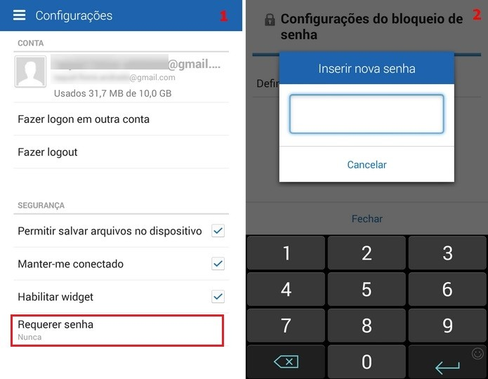 Telas de configuração para definição de senha ao entrar no app (Foto: Reprodução/Raquel Freire)