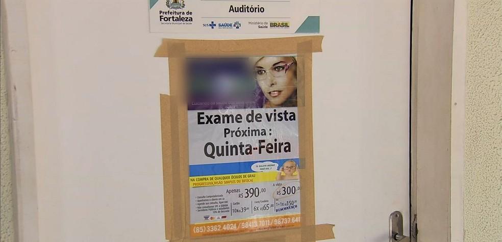 -  Ótica funcionava dentro de posto de saúde de Fortaleza  Foto: Reprodução/TVM