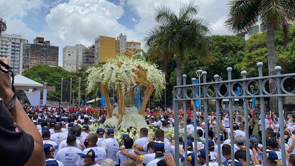 Círio de  Nazaré 2021:  Imagem de Nossa Senhora de Nazaré próximo à Basílica em Belém — Foto: Brenda Rachit/G1