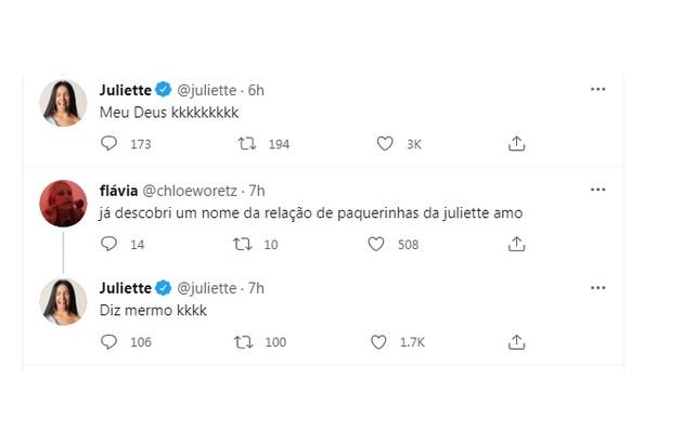 Juliette ri com curiosidade dos fãs a respeito de seus affairs (Foto: Reprodução)