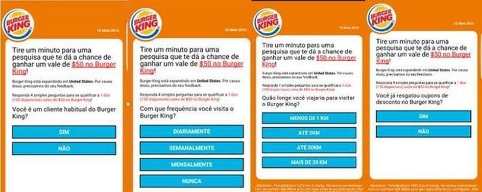 Golpe no WhatsApp usava supostos cupons de descontos do Burger King (Foto: Divulgação/ESET) — Foto: Divulgação/ESET