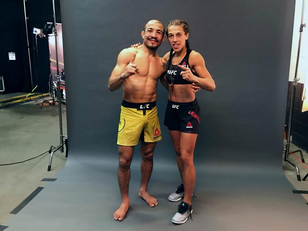 José Aldo posou para foto com Joanna Jedrzejczyk depois de sua vitória (Foto: Evelyn Rodrigues)