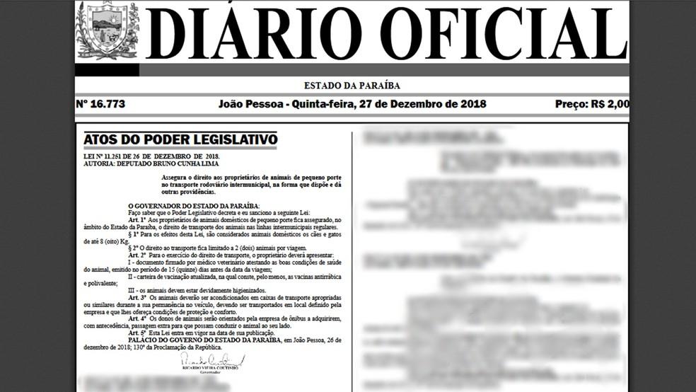 Lei que regulamenta transporte de animais em ônibus intermunicipais é publicada no Diário Oficial do Estado da Paraíba — Foto: Reprodução