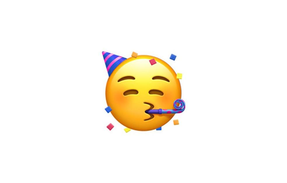 Carinha festejante tem direito a chapéu, língua de sogra e confetes — Foto: Reprodução/Emojipedia