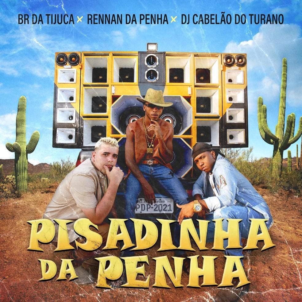 Capa do single 'Pisadinha da Penha', de Rennan da Penha com BR da Tijuca e DJ Cabelão do Turano — Foto: Felipe Braga com arte de Lucas Bunner