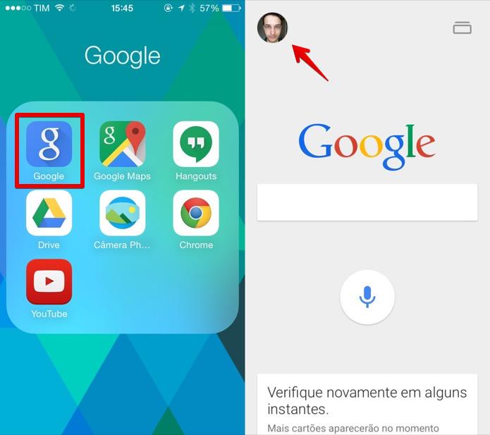 Inicie o aplicativo do Google para iOS e acesse as configurações (Foto: Reprodução/Helito Bijora)