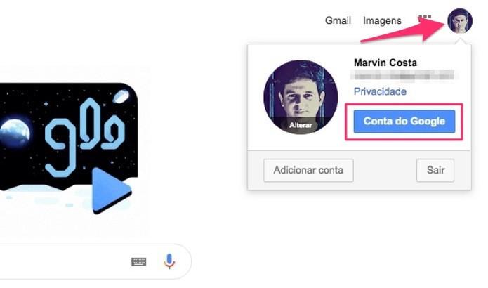 Ação para acessar o painel de controle de uma conta do Google (Foto: Reprodução/Marvin Costa)