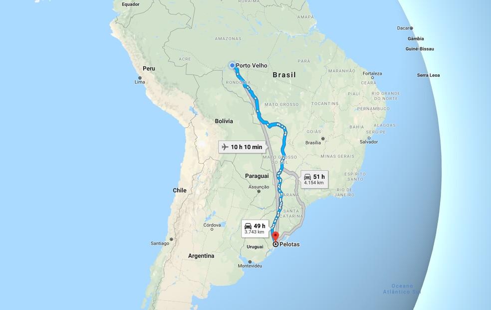 Distância de Pelotas a Porto Velho  — Foto: Google Maps/ Reprodução