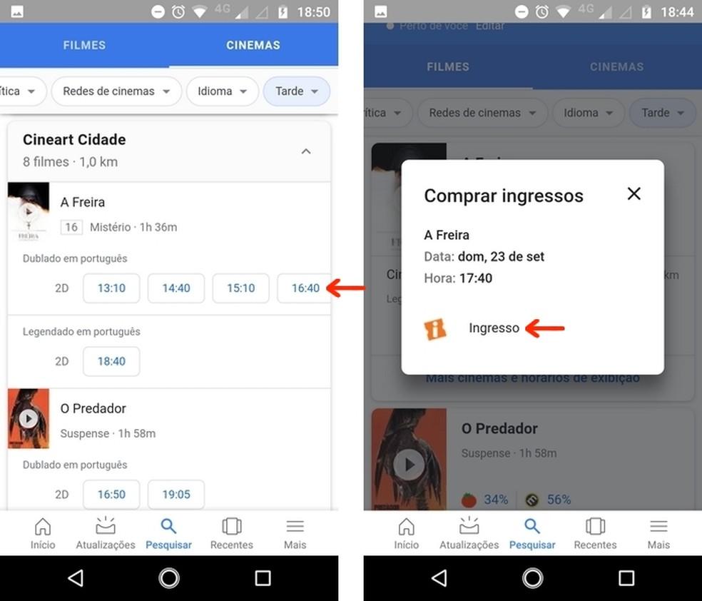 Escolha a sessão de cimema com o aplicativo de buscas do Google para Android — Foto: Reprodução/Raquel Freire