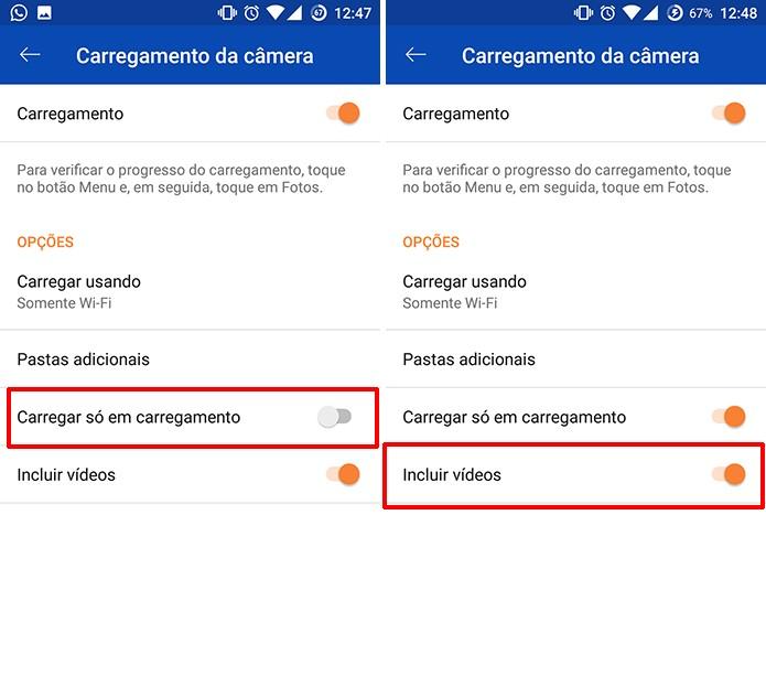 OneDrive pode carregar só com celular conectado à tomada e incluir vídeos em backup (Foto: Reprodução/Elson de Souza)