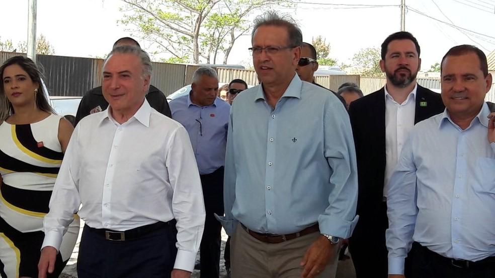 Temer ao lado do governador do Tocantins Marcelo Miranda e a prefeita de Xambioá, Patrícia Evelin (Foto: Suzana Barros/Governo do Tocantins)