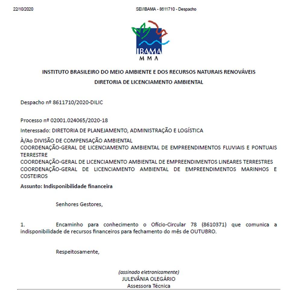 Documento do Ibama desta quinta-feira (22) fala em 'indisponibilidade financeira' para fechar o mês de outubro. — Foto: Reprodução