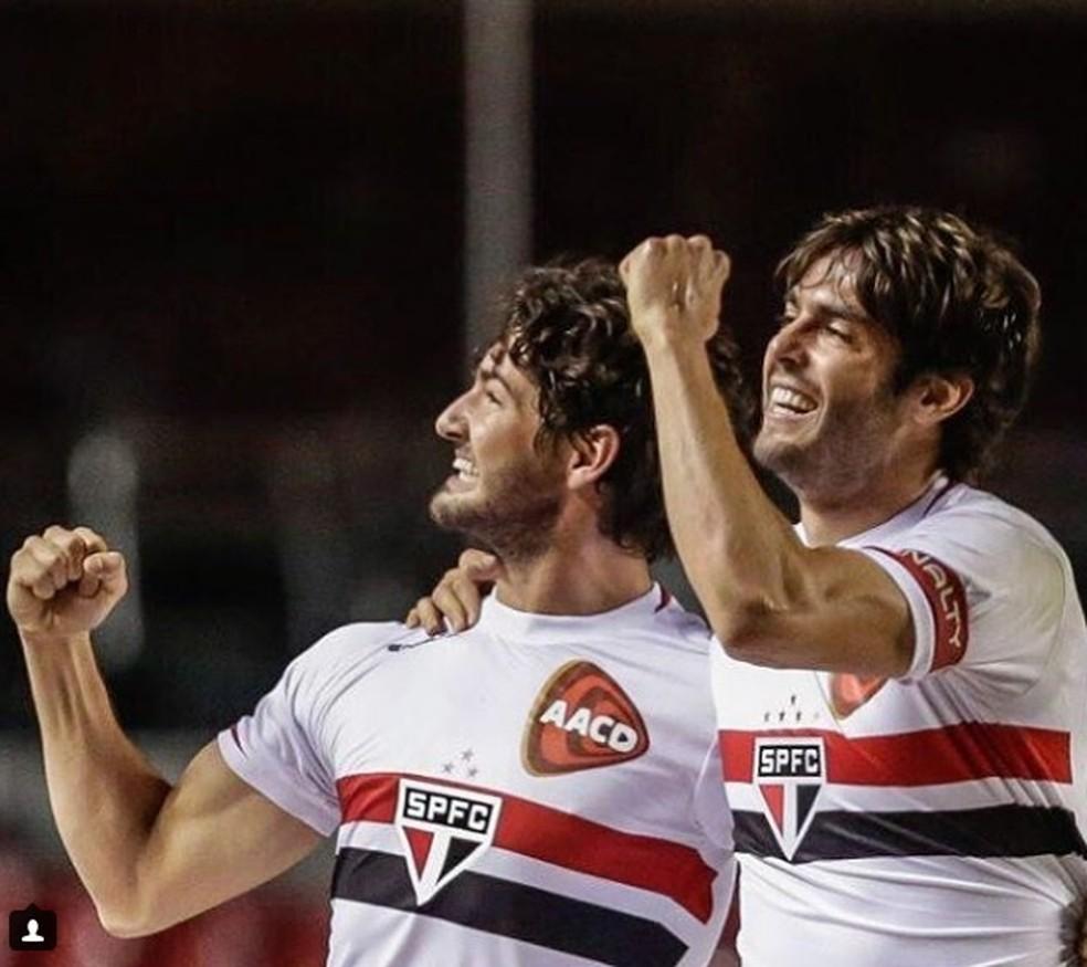 Pato e Kaká em jogo pelo São Paulo — Foto: Reprodução / Instagram
