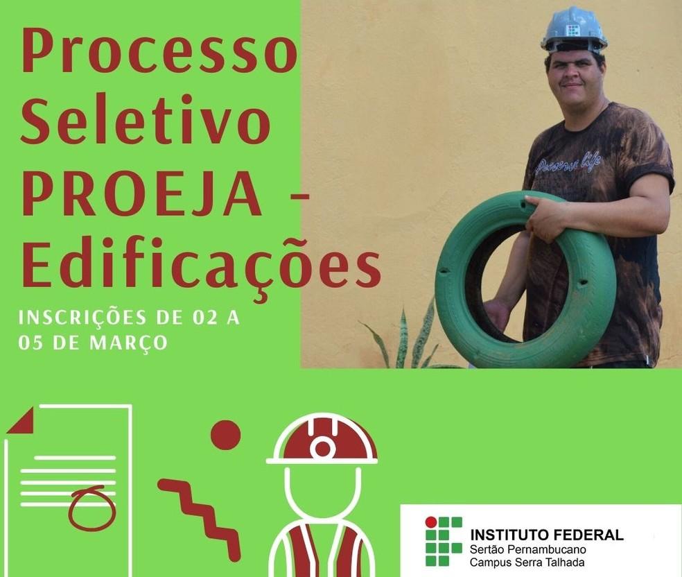 Vagas aberta para o curso de edificações em Serra Talhada — Foto: IFPE Serra Talhada/Divulgação
