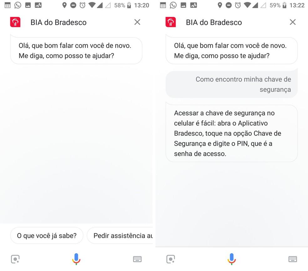 Bradesco tem seu próprio assistente integrado ao app do Google — Foto: Reprodução/Isabela Cabral