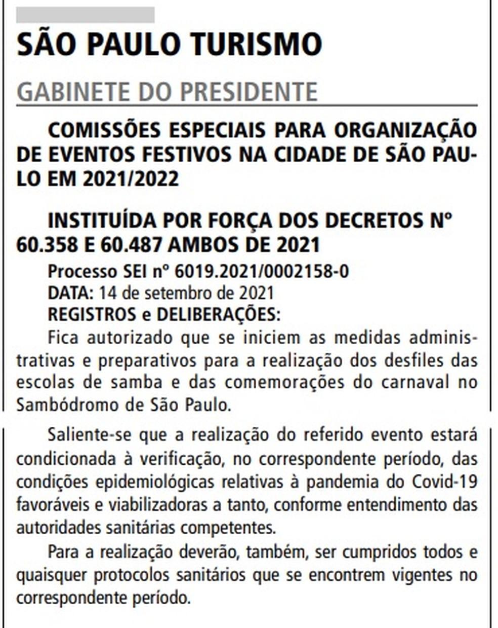 Decreto de carnaval da SPTuris nesta quarta-feira, 15 de setembro de 2021 — Foto: Reprodução