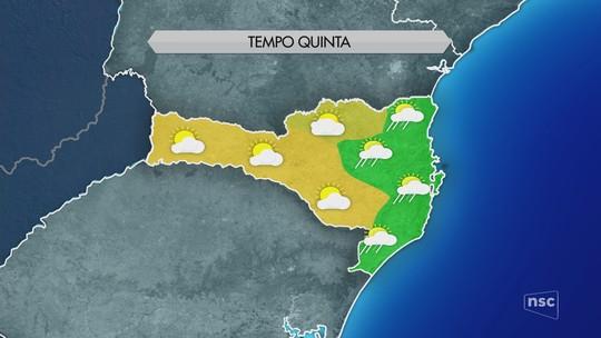 Quinta-feira é de sol com nuvens e chuva em Santa Catarina